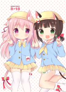 Rating: Safe Score: 3 Tags: 2girls :d animal_ears ass azur_lane bangs bell blue_shirt blunt_bangs blush bow bowtie brown_hair candy cat_ears cat_girl cat_tail chatsune_(white_lolita) closed_mouth cover cover_page doujinshi_cover ears_through_headwear eyebrows_visible_through_hair food green_eyes hair_between_eyes hands_up hat holding holding_lollipop jingle_bell kindergarten_uniform kisaragi_(azur_lane) lollipop long_hair loose_socks multiple_girls mutsuki_(azur_lane) neckerchief open_mouth pantsu pink_hair pleated_skirt polka_dot polka_dot_background purple_eyes red_bow school_hat shirt skirt smile socks tail tail_bell tail_bow thighhighs underwear upper_teeth very_long_hair white_background white_legwear white_pantsu yellow_hat yellow_neckwear yellow_skirt User: DMSchmidt