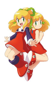 Rating: Safe Score: 2 Tags: 2girls artist_request blonde_hair boots capcom dual_persona green_eyes knee_boots multiple_girls official_art red_skirt rockman rockman_(classic) roll skirt User: DMSchmidt