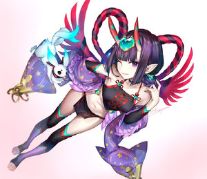 Rating: Safe Score: 6 Tags: 1girl animal bangs bare_shoulders black_gloves black_legwear blunt_bangs breasts choker dudou dutch_angle earrings fate/grand_order fate_(series) forehead_jewel foreshortening full_body fundoshi gloves gradient gradient_background highres horns japanese_clothes jewellery kaguyuzu licking_lips looking_at_viewer multicolored_clothes multicolored_legwear multicoloured navel one_eye_closed oni_horns pink_background pointy_ears purple_eyes purple_hair rope short_hair shuten_douji_(fate/grand_order) small_breasts solo star star_print thighhighs toeless_legwear tongue tongue_out twitter_username white_background User: DMSchmidt