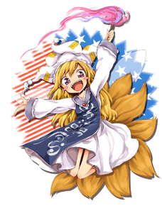 Rating: Safe Score: 0 Tags: 1girl american_flag blonde_hair blush_stickers clownpiece dress fairy_wings fire fox_tail full_body harusame_(unmei_no_ikasumi) hat jester_cap long_hair long_sleeves looking_at_viewer ofuda open_mouth pink_eyes simple_background smile solo star striped tabard tail team_shanghai_alice teeth torch touhou_project white_dress wings yakumo_ran yakumo_ran_(cosplay) User: DMSchmidt