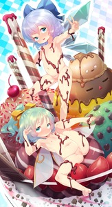 Rating: Questionable Score: 2 Tags: 2girls barefoot blue_bow blue_eyes blue_hair blush born-to-die bow cherry chocolate cirno daiyousei fairy_wings feet flat_chest food fruit green_eyes green_hair hair_bow highres ice ice_cream ice_wings looking_at_viewer multiple_girls navel nipples nude open_mouth pussy shiny shiny_hair soles spread_legs sprinkles straw toes touhou_project uncensored v w wings User: Domestic_Importer