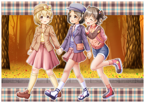 Rating: Safe Score: 0 Tags: 10s 3girls :d ^_^ akagi_miria ankle_lace-up autumn_leaves backpack bag bangs beige_legwear belt_pouch beret black_eyes black_hair blonde_hair blue_footwear blue_shorts bow breast_pocket brown_eyes brown_footwear brown_hair brown_jacket brown_legwear closed_eyes collared_shirt cross-laced_footwear eye_contact eyebrows_visible_through_hair flower hair_between_eyes hair_bobbles hair_ornament hairpin handbag hands_on_another's_shoulders hat highres holding_hands idolmaster idolmaster_cinderella_girls jacket kneehighs koga_koharu leaf_hair_ornament loafers long_sleeves looking_at_another multiple_girls necktie open_clothes open_jacket open_mouth outdoors pink_neckwear pink_skirt plaid pleated_skirt pocket purple_jacket raglan_sleeves red_footwear regular_mow sandals sasaki_chie shirt shoes short_hair short_twin_tails shorts shoulder_bag skirt smile sneakers socks sweater_vest track_jacket tree twin_tails walking white_legwear white_shirt yellow_bow yellow_shirt User: Domestic_Importer