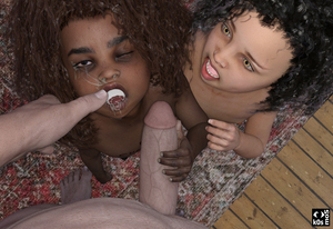 Rating: Explicit Score: 27 Tags: 1boy 2girls 3dcg barefoot black_hair blush brown_skin cum cum_in_mouth cum_on_tongue facial flat_chest hetero interracial k0smos looking_up multiple_girls nude one_eye_closed open_mouth original penis penis_grab photorealistic pov pov_eye_contact standing veins veiny_penis wooden_floor User: Domestic_Importer
