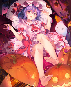 Rating: Safe Score: 1 Tags: 1girl animal ascot bare_legs barefoot bat bow brooch candy curtains feet fingernails food frilled_skirt frills full_body halloween hands_up hat hat_ribbon holding indoors jack-o'-lantern jewellery lollipop looking_at_viewer mob_cap night pillow pink_eyes pink_hat pink_shirt pink_skirt pumpkin red_bow red_neckwear red_ribbon remilia_scarlet ribbon shinia shirt sitting skirt skirt_set smile solo toenails touhou_project window User: DMSchmidt