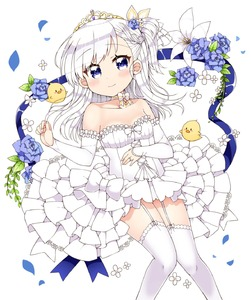 Rating: Safe Score: 1 Tags: 1girl azur_lane bare_shoulders belchan_(azur_lane) belfast_(azur_lane) bird blue_eyes blue_ribbon blush braid breasts bridal_gauntlets chick collarbone diadem dress elbow_gloves eyebrows_visible_through_hair flower flower_request garter_straps gloves hand_on_own_stomach highres jewellery kanjitomiko long_hair looking_at_viewer neck_ribbon one_side_up petals ribbon ring silver_hair simple_background smile solo thighhighs wedding_band wedding_dress white_background white_dress white_gloves white_legwear User: DMSchmidt