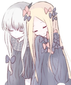 Rating: Safe Score: 0 Tags: 2girls abigail_williams_(fate/grand_order) bangs black_bow black_dress blonde_hair bow closed_eyes closed_mouth dress fate/grand_order fate_(series) hair_bow horn lavinia_whateley_(fate/grand_order) leaning_on_person long_hair long_sleeves multiple_girls no_hat no_headwear orange_bow parted_bangs polka_dot polka_dot_bow ruten_(onakasukusuku) simple_background sleeping smile very_long_hair white_background white_hair User: Domestic_Importer