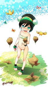 Rating: Explicit Score: 3 Tags: anklet avatar avatar:_the_last_airbender barefoot bending bird black_hair blind blush born-to-die bottomless butterfly feet flat_chest green_eyes highres jewellery mound_of_venus nickelodeon nipples nude pussy short_hair signature third-party_edit toph_bei_fong User: DMSchmidt