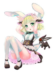Rating: Safe Score: 0 Tags: 1girl animal_ears anko_(gochuumon_wa_usagi_desuka?) apron blonde_hair blush bow bunny bunny_ears buttons curly_hair frilled_skirt frills frilly_shirt gochuumon_wa_usagi_desu_ka? green_eyes hairband hands_on_hips headdress highres kanipanda kirima_sharo lolita_hairband looking_up mary_janes miniskirt open_mouth petticoat puffy_short_sleeves puffy_sleeves shoes short_hair short_sleeves simple_background skirt solo thighhighs uniform waist_apron waitress white_legwear wrist_cuffs zettai_ryouiki User: DMSchmidt