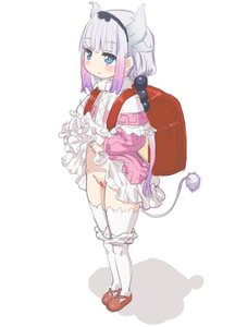 Rating: Questionable Score: 3 Tags: 1girl backpack bag bangs beads blue_eyes blunt_bangs blush cardigan closed_mouth dragon_girl dragon_tail dress dress_lift eyebrows_visible_through_hair full_body hair_beads hair_ornament hairband kanna_kamui kobayashi-san_chi_no_maidragon lavender_hair lifted_by_self long_hair long_sleeves pantsu pantsu_pull pussy randoseru shoes simple_background standing tail thighhighs uncensored underwear white_background white_legwear yamada_(gotyui) User: Domestic_Importer