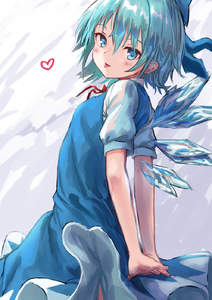 Rating: Safe Score: 2 Tags: 1girl :p arms_behind_back bangs blue_bow blue_dress blue_eyes blue_hair blush bow cirno cowboy_shot dress grey_background hair_between_eyes hair_bow heart highres ice ice_wings looking_at_viewer neck_ribbon pinafore_dress red_neckwear red_ribbon ribbon roke_(taikodon) shirt short_hair smile solo standing tongue tongue_out touhou_project white_shirt wings User: DMSchmidt