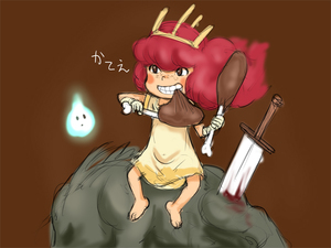 Rating: Safe Score: 1 Tags: 1girl barefoot blood blush_stickers brown_background brown_eyes child_of_light_(game) clenched_teeth crown dress e10 eating food freckles gloves igniculus long_hair meat monster parted_lips pink_hair planted_sword planted_weapon princess_aurora simple_background sitting sword translation_request weapon wisp User: DMSchmidt