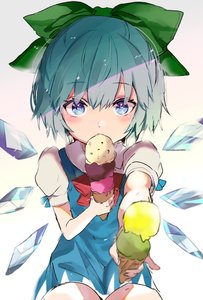 Rating: Safe Score: 1 Tags: 1girl bangs blue_dress blue_eyes blue_hair blush bow cirno cowboy_shot dress eyebrows_visible_through_hair food gradient gradient_background green_bow grey_background hair_between_eyes hair_bow highres holding holding_food ice ice_cream ice_cream_cone ice_wings looking_at_viewer pinafore_dress puffy_short_sleeves puffy_sleeves satoupote shirt short_dress short_hair short_sleeves solo touhou_project white_background white_shirt wings User: DMSchmidt