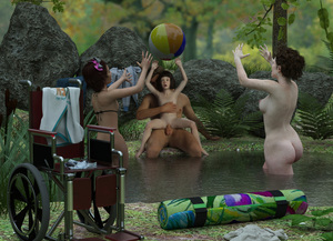 Rating: Explicit Score: 32 Tags: 1boy 3dcg 3girls age_difference beachball bikini black_hair girl_on_top hetero highres l3d milf multiple_girls navel nipples nude original outdoors penis photorealistic pond realistic sex swimsuit tagme testicles vaginal water wheelchair User: lolifiedtrap