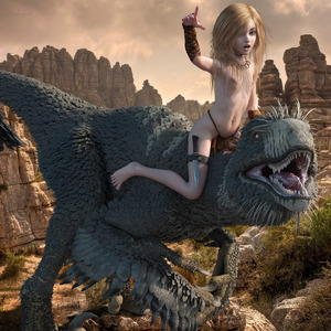 Rating: Questionable Score: 27 Tags: 1girl 3dcg animal barefoot blonde_hair claws dinosaur feathers flat_chest knife long_hair navel necklace nipples open_mouth outdoors photorealistic pointing riding self_upload skeleton_(3d-artist) sky teeth User: loli4ever