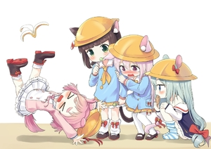 Rating: Safe Score: 1 Tags: 4girls >_< ahenn animal_ears arm_hug arms_up azur_lane banana_peel bandaid bandaid_on_knee bangs bare_shoulders bell blue_shirt blunt_bangs blush boots bow bowtie brown_footwear brown_hair candy cat_ears cat_girl cat_tail collarbone dog_ears dog_girl dog_tail ears_through_headwear eating eyebrows_visible_through_hair food green_eyes green_hair hair_between_eyes hair_bow hand_on_own_knee hat hat_removed hat_ribbon headwear_removed holding holding_food holding_lollipop jingle_bell kindergarten_uniform kisaragi_(azur_lane) kneehighs lifebuoy lollipop long_hair looking_at_another loose_socks mary_janes mikazuki_(azur_lane) multiple_girls mutsuki_(azur_lane) neckerchief no_shoes nose_blush off_shoulder open_mouth outstretched_arm pantyhose pink_hair pink_neckwear pink_shirt pleated_skirt pocket profile purple_eyes red_bow red_ribbon ribbon school_hat shirt shoes short_hair skirt slipping socks squatting striped striped_legwear tail tail_bell tail_bow taiyaki uzuki_(azur_lane) very_long_hair wagashi wavy_mouth white_background white_legwear white_skirt yellow_hat yellow_neckwear yellow_skirt User: DMSchmidt