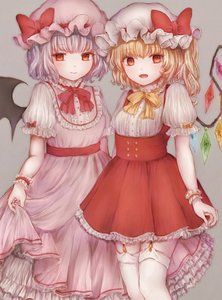 Rating: Safe Score: 0 Tags: 2girls :d adapted_costume bat_wings bebitera blonde_hair bow center_frills closed_mouth crystal dress eyebrows_visible_through_hair fangs flandre_scarlet frilled_sleeves frills garter_straps grey_background hat hat_ribbon highres lavender_hair looking_at_viewer mob_cap multiple_girls neck_ribbon one_side_up open_mouth petticoat pink_dress puffy_short_sleeves puffy_sleeves red_bow red_dress red_eyes red_neckwear red_ribbon remilia_scarlet ribbon short_hair short_sleeves siblings sisters skirt_hold smile standing thighhighs touhou_project underbust white_legwear wings wrist_cuffs yellow_neckwear User: DMSchmidt
