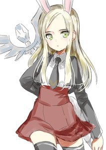 Rating: Safe Score: 0 Tags: 1girl animal_ears arm_behind_back black_legwear blazer blonde_hair bunny_ears cropped_jacket elin emily_(pure_dream) green_eyes jacket long_hair necktie red_skirt shirt simple_background sketch skirt solo staff tera_online thighhighs weapon white_background white_shirt User: DMSchmidt
