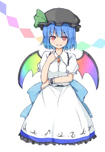 Rating: Safe Score: 0 Tags: 1girl alternate_headwear_colour bat_wings black_hat blue_hair collared_shirt cosplay eyebrows_visible_through_hair fang garasuita hair_between_eyes hat highres hinanawi_tenshi hinanawi_tenshi_(cosplay) looking_at_viewer mob_cap rainbow_wings red_eyes remilia_scarlet shirt short_hair slit_pupils smile solo touhou_project wings User: DMSchmidt
