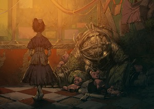 Rating: Safe Score: 2 Tags: 1girl big_daddy bioshock black_hair bow chomoran cracks crossed_legs_(standing) dress drill little_sister ponytail short_hair stuffed_animal stuffed_toy teddy_bear weapon User: DMSchmidt