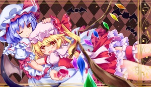Rating: Safe Score: 0 Tags: 2girls alcohol argyle argyle_background arm_ribbon bat bat_wings between_fingers blonde_hair blouse blue_hair blush border bow brown_background crystal cup drinking_glass eyebrows_visible_through_hair fangs flandre_scarlet garters hair_between_eyes hand_on_another's_head hat hat_ribbon highres hug looking_at_another looking_at_viewer lying lying_on_person mob_cap multiple_girls one_eye_closed open_mouth petticoat puffy_short_sleeves puffy_sleeves red_eyes red_skirt red_vest remilia_scarlet ribbon short_hair short_sleeves siblings side_ponytail sisters skirt slit_pupils smile spilling touhou_project unory vest white_blouse white_bow white_skirt wine wine_glass wings wrist_cuffs yellow_border User: DMSchmidt