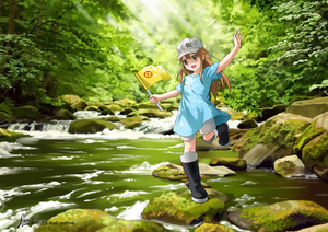 Rating: Safe Score: 2 Tags: 1girl artist_name black_footwear blue_shirt boots brown_eyes brown_hair dated day flag flat_cap forest hand_up hat hataraku_saibou holding holding_flag lilia_creative long_hair looking_at_viewer moss nature open_mouth outdoors platelet_(hataraku_saibou) rock rubber_boots running shirt short_sleeves shorts signature smile solo standing standing_on_one_leg stream sunlight very_long_hair water white_headwear User: Domestic_Importer