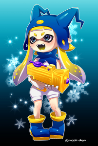Rating: Safe Score: 1 Tags: 1girl bangs blonde_hair blue_background blue_eyes blue_hat blue_shoes blunt_bangs cosplay domino_mask fangs full_body gloves hat highres holding holding_weapon inkling jack_frost jack_frost_(cosplay) long_hair mask multicoloured_shoes open_mouth persona pointy_ears puchiman shin_megami_tensei shoes short_jumpsuit smile snowflake_background solo splatoon splattershot_jr_(splatoon) standing tentacle_hair twitter_username weapon white_gloves white_jumpsuit User: Domestic_Importer