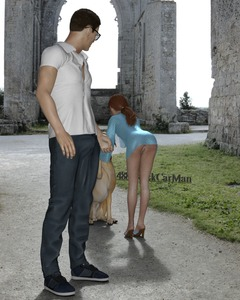 Rating: Explicit Score: 24 Tags: 1boy 1girl 3dcg 4888stockcarman age_difference april-4888 ass bulge dog erection_under_clothes glasses grass high-heels highres long_hair outdoors photorealistic ponytail pussy red_hair standing User: fantasy-lover
