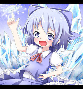 Rating: Safe Score: 0 Tags: 1girl :d arm_up bangs blue_bow blue_eyes blue_hair blue_skirt blue_vest blush bow cirno collared_shirt dress_shirt eyebrows_visible_through_hair hair_bow hand_on_hip ice ice_wings makuran open_mouth smile touhou_project User: Domestic_Importer