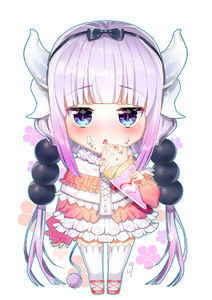 Rating: Safe Score: 0 Tags: 10s 1girl bangs beads blue_eyes blunt_bangs blush capelet chibi dessert dragon_girl dragon_horns dress eyebrows_visible_through_hair floral_background food food_on_face frilled_dress frills fruit hair_beads hair_ornament hairband highres horns jitome kanna_kamui kobayashi-san_chi_no_maidragon lavender_hair long_hair looking_at_viewer pink_shoes shoes simeoneo solo strawberry tail thighhighs twin_tails very_long_hair white_legwear User: Domestic_Importer