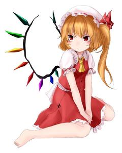 Rating: Safe Score: 1 Tags: 1girl ameyu_(rapon) ascot asymmetrical_hair barefoot blonde_hair blush crystal flandre_scarlet full_body hat hat_ribbon jpeg_artifacts looking_away mob_cap puffy_sleeves red_eyes ribbon sash shirt short_sleeves side_ponytail simple_background sitting skirt skirt_set solo touhou_project vest white_background wings User: DMSchmidt
