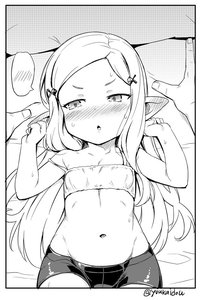 Rating: Safe Score: 3 Tags: 1girl arms_up blush bra clenched_hands ear_blush embarrassed flat_chest forehead granblue_fantasy groin hair_ornament hairclip jingai_modoki long_hair lying milleore monochrome navel no_shirt on_back pointy_ears short_shorts shorts solo_focus spats strap_slip training_bra underwear User: DMSchmidt