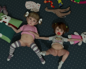 Rating: Questionable Score: 27 Tags: 2girls 3dcg anus blonde_hair blue_eyes flat_chest from_above hair_ribbon hello_kitty looking_at_viewer lying_on_floor multiple_girls nopan pacifier photorealistic pussy red_hair ribbon short_twin_tails slimdog spread_legs striped striped_thighhighs stuffed_animal stuffed_toy thighhighs toddlercon twin_tails white_legwear User: yobsolo