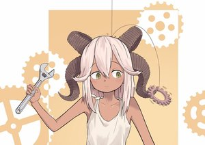 Rating: Safe Score: 1 Tags: 1girl bangs bare_arms bare_shoulders brown_skin closed_mouth fingernails gears green_eyes hair_between_eyes hand_up highres holding kamemaru looking_to_the_side motion_blur motion_lines multiple_horns orange_background original shirt sleeveless sleeveless_shirt solo upper_body white_hair wrench User: DMSchmidt