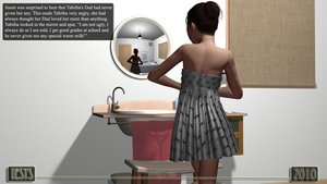 Rating: Questionable Score: 4 Tags: 1girl 3dcg bathroom brown_hair comic dress english father_and_daughter flat_chest grey_eyes hair_bun highres iesys_(daddy's_girl) iesys_comics incest mirror photorealistic reflection shoulderless_dress sink text undressing User: Software