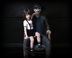 Rating: Safe Score: 0 Tags: 1boy 1girl 3dcg age_difference aresta black_cat black_hair blue_eyes bracelet cat chair flat_chest hat mask photorealistic pose shadow shoes sitting skirt smile User: fantasy-lover
