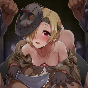 Rating: Explicit Score: 3 Tags: 1boy 1girl ass blonde_hair blush bound bound_wrists breasts brown_coat censored chain coat collarbone cosplay cuffs cum cum_on_body cum_on_upper_body darkmaya ear_piercing earrings facial femdom friday_the_13th gloves grey_gloves hair_over_one_eye hips hockey_mask idolmaster idolmaster_cinderella_girls jason_voorhees jason_voorhees_(cosplay) jewellery knife looking_at_viewer naizuri nipples off_shoulder open_clothes open_coat paizuri parted_lips penis piercing red_eyes restrained shackles shirasaka_koume short_hair small_breasts smile solo solo_focus User: DMSchmidt