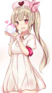 Rating: Safe Score: 2 Tags: 1girl :d absurdres armband bandaged_arm bandages bangs blonde_hair blush breasts bunny_hair_ornament collared_dress cowboy_shot cup dress eyebrows_visible_through_hair fang food hair_ornament hands_up hat heart highres looking_at_viewer natori_sana nurse_cap open_mouth red_eyes sana_channel short_sleeves side_ponytail sidelocks simple_background small_breasts smile solo standing symbol-shaped_pupils virtual_youtuber white_background white_dress yuano User: DMSchmidt