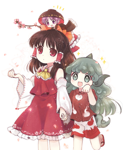 Rating: Safe Score: 0 Tags: 3girls animal_ears ascot bangs biyon black_hair bow bowl bowl_hat cherry_blossoms cloud_print collared_shirt curly_hair detached_sleeves green_eyes green_hair hair_bow hair_tubes hakurei_reimu hat holding_hands horn japanese_clothes kariyushi_shirt kimono komano_aun long_hair minigirl multiple_girls obi paw_pose purple_eyes purple_hair red_bow red_eyes red_skirt ribbon-trimmed_sleeves ribbon_trim sash shirt short_hair sidelocks simple_background skirt skirt_set smile standing sukuna_shinmyoumaru tail touhou_project twig vest white_background User: Domestic_Importer