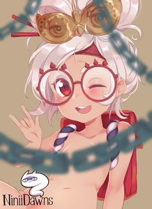 Rating: Questionable Score: 1 Tags: 1girl \n/ areolae artist_name backpack bag beige_background blurry blush brown_skin censored chain collarbone flat_chest glasses hair_ornament hair_stick hand_up happy looking_at_viewer messy_hair navel niniidawns nude one_eye_closed open_mouth purah red-framed_eyewear red_eyes shiny shiny_hair short_hair simple_background smile solo teeth the_legend_of_zelda the_legend_of_zelda:_breath_of_the_wild tied_hair topknot watermark white_hair User: Domestic_Importer