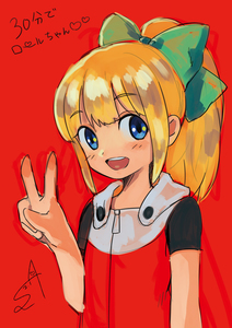Rating: Safe Score: 1 Tags: 1girl android bangs blonde_hair blue_eyes blunt_bangs blush bow capcom dated dress eyebrows_visible_through_hair fringe_trim green_bow hair_bow hair_ornament hand_gesture heart high_ponytail highres hood hood_down hoodie long_hair looking_at_viewer looking_to_the_side open_mouth ponytail red_background red_dress rockman rockman_(classic) rockman_11 roll short_sleeves sidelocks signature simple_background sketch smile solo sumomo teeth text text_focus upper_body v User: DMSchmidt