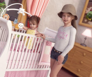 Rating: Safe Score: 10 Tags: ! 2girls 3dcg baby bare_arms crib curtains denim_shorts dutch_angle flat_chest hat indoors lamp long_hair long_sleeves looking_at_viewer multiple_girls necklace original parted_lips photorealistic print_shirt rezure room shorts teeth toddlercon window User: Domestic_Importer