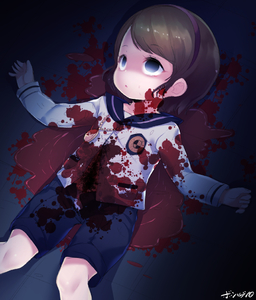 Rating: Safe Score: 2 Tags: 1girl blood blood_stain born-to-die brown_hair character_request copyright_request corpse death dutch_angle empty_eyes guro hairband long_sleeves lying on_back shirt shorts solo stain stained_clothes white_shirt white_sleeves User: Domestic_Importer