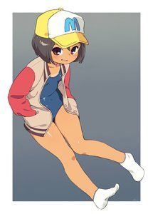 Rating: Safe Score: 3 Tags: 1girl baseball_cap brown_eyes brown_hair full_body grey_background grin hands_in_pockets hat jacket om one-piece_swimsuit school_swimsuit short_hair simple_background sitting smile socks solo swimsuit tan tanline white_footwear white_jacket yamaguchi_mika youkai_watch User: DMSchmidt