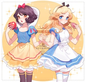Rating: Safe Score: 5 Tags: 2girls :o alice_(wonderland) alice_in_wonderland apple apron artist_name bangs biscuit black_bow black_hair black_legwear blonde_hair blue_dress blue_eyes blush border bow brown_eyes brown_hair company_connection cowboy_shot crossover disney dotted_line dress eyebrows eyebrows_visible_through_hair food frilled_dress frills fruit hair_bow hair_ornament hairband heart holding holding_food holding_fruit holding_hands holding_object long_hair looking_at_viewer messy_hair multiple_girls open_mouth orange_eyes pleated_dress puffy_short_sleeves puffy_sleeves red_bow ribbon seoji short_hair short_sleeves skirt snow_white snow_white_and_the_seven_dwarfs sweets swept_bangs thighhighs watermark web_address white_legwear yellow_skirt zettai_ryouiki User: Software