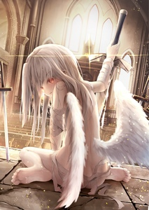 Rating: Explicit Score: 0 Tags: 1girl arm_up ass bandaged_arm bandages bangs barefoot blurry blurry_background blush depth_of_field dutch_angle eyebrows_visible_through_hair fate/kaleid_liner_prisma_illya fate/stay_night fate_(series) feathered_wings feet grey_hair highres holding holding_sword holding_weapon illyasviel_von_einzbern indoors long_hair looking_at_viewer looking_back low_wings naked_ribbon nude parted_lips planted_sword planted_weapon red_eyes ribbon sitting soles solo sword utatanecocoa very_long_hair wariza weapon white_wings wings User: DMSchmidt