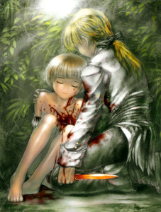 Rating: Safe Score: 0 Tags: 1boy 1girl barefoot blonde_hair blood closed_eyes death guro hug kneeling knife original reverse_grip s_zenith_lee tears User: DMSchmidt