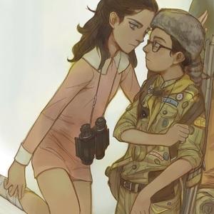 Rating: Safe Score: 9 Tags: 1boy 1girl binoculars boy_scouts clothed glasses highres moonrise_kingdom sam_shakusky season_(artist) suzy_bishop User: flondrix