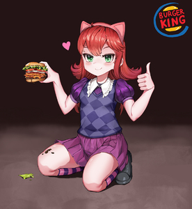 Rating: Safe Score: 2 Tags: 1girl ahoge animal_ears annie_hastur blush burger_king checkered coffeearty fake_animal_ears food green_eyes hairband half-closed_eyes hamburger heart highres kneeling league_of_legends looking_at_viewer medium_hair pleated_skirt puffy_short_sleeves puffy_sleeves red_eyes shoes short_sleeves skirt smile socks solo striped striped_legwear thumbs_up User: Domestic_Importer