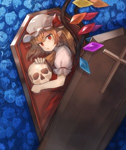 Rating: Safe Score: 0 Tags: 1girl ascot bangs blonde_hair blue_flower blue_rose coffin cross crystal eyebrows_visible_through_hair eyelashes flandre_scarlet flower from_above hair_between_eyes hat hat_ribbon holding holding_skull in_container kasuka_(kusuki) looking_at_viewer lying mob_cap on_side one_side_up parted_lips pointy_ears puffy_short_sleeves puffy_sleeves red_eyes red_ribbon red_skirt red_vest ribbon rose shirt short_sleeves skirt skirt_set skull slit_pupils solo touhou_project vest white_hat white_shirt wing_collar wings yellow_neckwear User: DMSchmidt