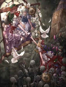 Rating: Safe Score: 0 Tags: 5girls apron backlighting bird blonde_hair braid broken chain clock clock_tower closed_eyes dark dove dress feathers flandre_scarlet floating_hair flower hat headdress highres hong_meiling hourglass izayoi_sakuya long_hair looking_down maid_apron maid_headdress mob_cap multiple_girls nagi_(xx001122) patchouli_knowledge pocket_watch purple_hair reaching_out red_eyes red_hair remilia_scarlet side_ponytail silver_hair skeleton smile the_embodiment_of_scarlet_devil touhou_project tower twin_braids watch wings User: DMSchmidt